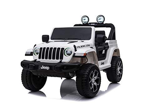 TOYSCAR electronic way to drive Auto Macchina Elettrica Jeep Wrangler Rubicon 12V per Bambini Porte apribili con Telecomando Full Accessori (Bianca)