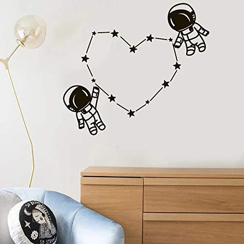 WERWN Astronauta Pegatinas de pared Astronauta Pegatinas Niños Espacio Sala Decoración de Pared Estrellas Amor Corazón Niños Niñas Dormitorio Decoración Personalizada