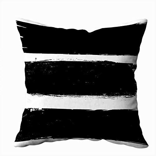 Quadratische Kissenbezüge Grunge Paint Roller Stroke Distressed Banner Schwarz Kissenbezug Dekorative Kissenbezug für Schlafsofa 18X18 Zoll