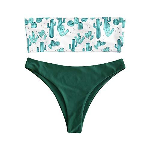 Generic Frauen Sexy Zweiteiler Bikini Set Schulterfrei Trägerlos Cartoon Kaktus Druck Bandeau Low Waist High Cut Einfarbig Badeanzug Beachwear 5 Styles 5# L