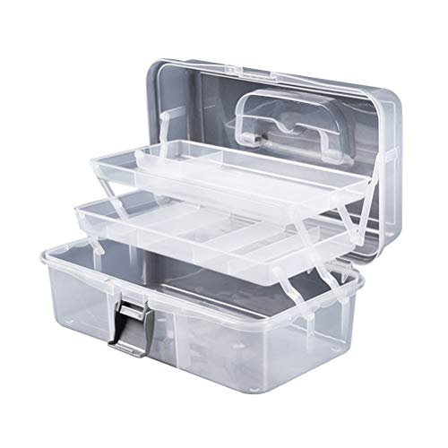 Artibetter Coffret à cosmétiques Pliable avec poignée Trois Couches Transparent Nail Art Box Portable Maquillage Organisateur Boîte de Rangement Taille S