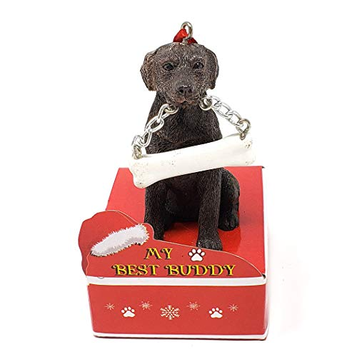 Animal Den My Best Buddy Chocolate Lab Christmas Tree Ornament Decoration
