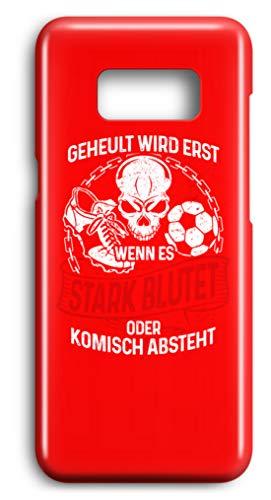 shirt-o-magic Handyhülle Fußballer: Beim Fussball wird nicht geheult - Case -Samsung S8-Rubinrot