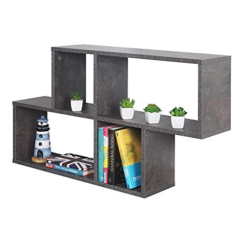 RICOO WM051-BG Estantería Pared 100x53x20cm Estante Colgante Mueble almacenaje Flotante Muebles hogar Almacenamiento Libros...