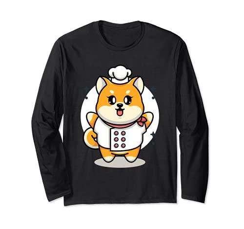 Bebé Shiba Inu perro Chef Manga Larga