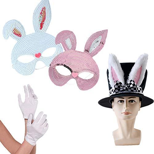 Cozyhoma Disfraz de conejo blanco, mscara de conejo de Pascua para fiestas con guantes blancos de orejas de conejo, accesorio de disfraz de conejo para fiestas de Pascua, carnaval