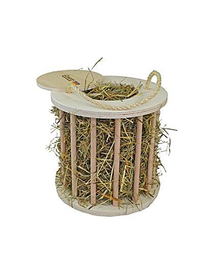 Elmato runde Heutrommel für Kaninchen, Meerschweinchen und Hasen - Stehende Heuraufe aus Holz - Hochwertige Futterraufe zum Aufhängen - Heurolle für Kleintiere - Heuhalter
