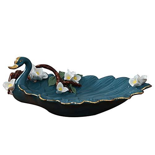 Bandejas decorativas para mesa de café, bandeja de entrada estilo cisne, decoración de cerámica estilo europeo salón modelo habitación fruta plato almacenamiento tazón, regalo de boda