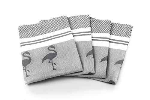 myHomery Geschirrhandtücher mit modernen Motiven im praktischen 4er Set aus 100prozent Baumwolle Flamingo - Anthrazit | 4er-Set - 50 x 70 cm