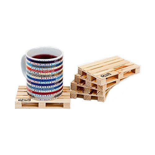 Design Studio Labyrinth Barcelona Palette-It - Set de 8 - Dessous de Verre en Bois - sous-Verre de Table Palette pour Boissons, Tasses et Bar