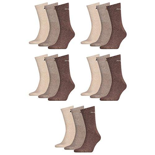 Puma 15 Paar Sportsocken Tennis Socken Gr. 35-49 Unisex für sie und ihn, Farbe:717 - chocolate/walnut/safar, Socken & Strümpfe:35-38
