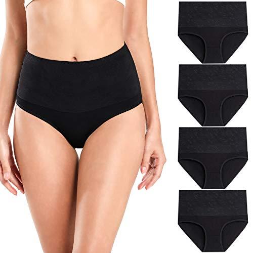 wirarpa Bauchweg Unterwäsche Damen Miederslip mit Bauch Weg Unterhosen Baumwolle Miederhose Formend Slip 4er Pack Schwarz Größe M