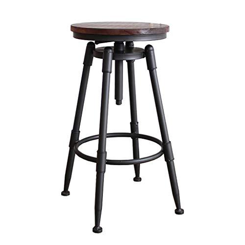 LAXF- Sillas Taburetes de Bar de Estilo Industrial, Silla de Comedor de Cocina, Taburete de Bar de Metal, Taburetes giratorios con Altura de mostrador, Altura Ajustable 70-91cm