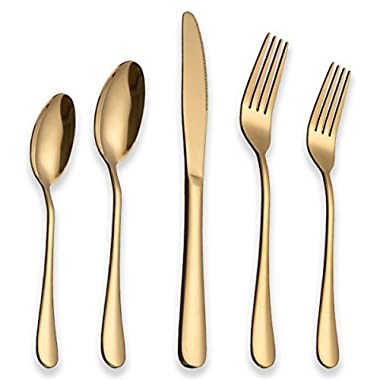 Berglander Flatware Set 20 Piece, Stainless Steel With Titanium Gold Plated, Golden Color Flatware Set, Silverware, Cutlery Set Service For 4 (Shiny Gold)