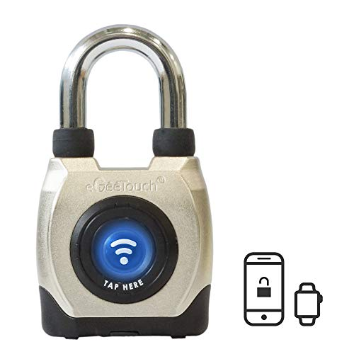 eGeeTouch Outdoor Smart Padlock 3rd Gen, Weatherproof, Rugged Design for Commercial use, Bluetooth + NFC (Short Shackle)