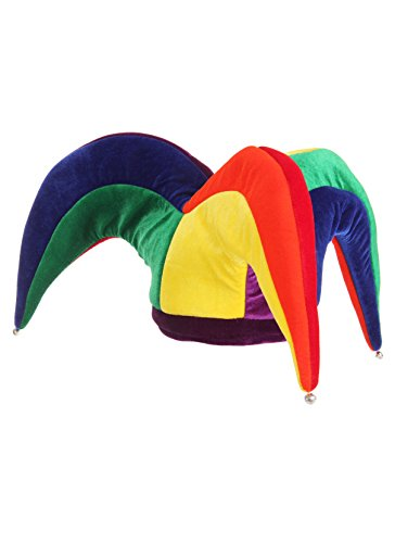 Court Jester Multicolor Plush Costume Hat with Bells