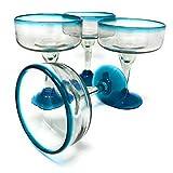 Mexican Hand Blown Glass – Set of 4 Hand Blown Margarita Glasses (16 oz) with Aqua Blue Rims