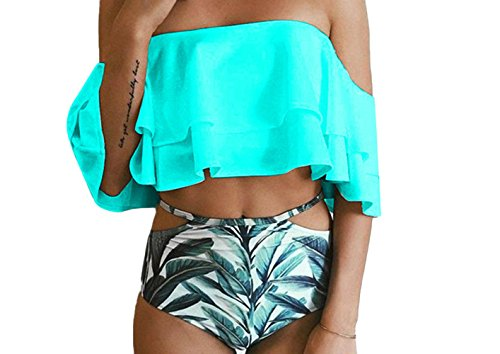 Hujukuludusu Women's Bikini 2pc Sets Ruffle Off Shoulder Top Leaf Printed Bottom Swimsuit Bathing Suit