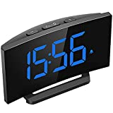 Mpow Digital Alarm Clock, 5'' Curved LED Screen, 6 Brightness, 3 Alarm Sounds, Easy Digita...
