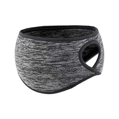 SAVITA 1 Stück Elastisches Ohrwärmer-Stirnband mit Pferdeschwanzloch Feuchtigkeitstransportierendes Thermal-Sport-Stirnband zum Joggen, Yoga, Wandern - Grau