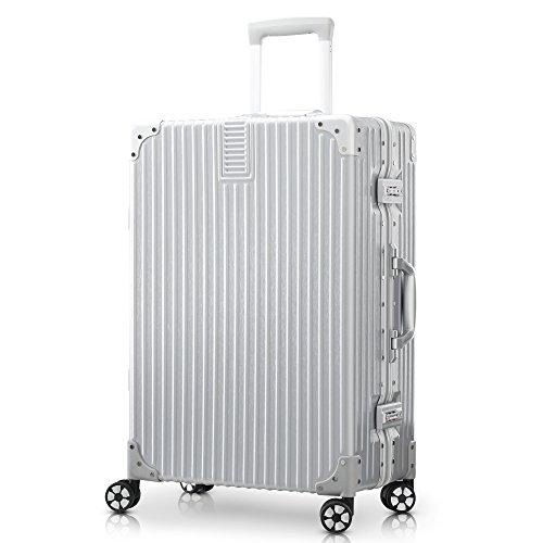 TABITORA(タビトラ) スーツケース 大型 人気 キャリーバッグ 安心一年サービス TSAロック搭載 旅行用品 出張 超軽量 大容量 静音 8輪 アルミフレーム 77L 5.1KG シルバー L
