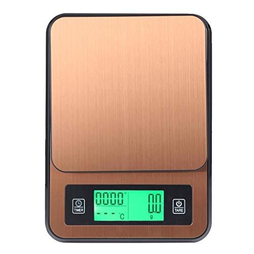 YZSHOUSE Oksmsa Báscula Digital Cocina Alta Precisión Sensor Pantalla LCD Función Tara para Cocina Horneando Café Peso 2kg/0.1g (Color : Gold)