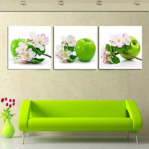 MMLFY 3 canvas schilderijen 40x40cmx3pcs Home Decor Canvas Schilderij 3 Panel Muur Kunst Groen Apple En Roze Bloem Decoratieve Afbeeldingen Op De Muren Geen Ingelijst