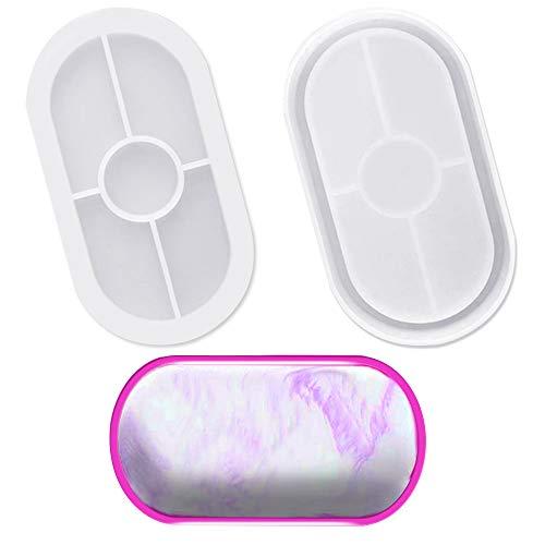 AFUNTA Moldes ovalados de silicona para posavasos, 2 unidades, suaves y flexibles, ovalados de silicona para fundición con resina, hormigón, cemento y arcilla polimérica, color blanco transpar