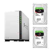 【NAS HDDセット】Synology DS220j & Seagate HDD [2ベイ/HDD IronWolf-8TBx2台同梱/64bitクアッドコアCPU 512MBメモリ搭載] DS220j-SI8T2A