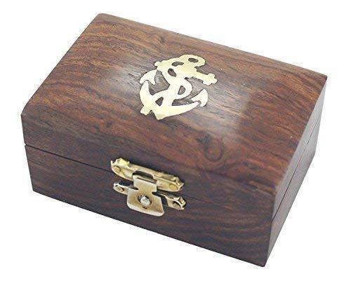 linoows Maritime Holzbox mit Messingeinlage, Box aus edlem Sheesham Holz
