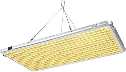 Bozily Lámpara de Plantas, Lámpara LED Cultivo 300W para Plantas de Interior, Cabezal Dual de Espectro Completo, 338 LED, Auto On Off, Led Cultivo Interior Crecimiento y Floracion