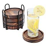 Yangbaga Untersetzer aus Holz mit Regal, 5 ST Glasuntersetzer rund Ø11cm, Untersetzer für Gläser, Tassenuntersetzer, Tischschutz aus Natürliches Paulownia ideal für Trinkglasset