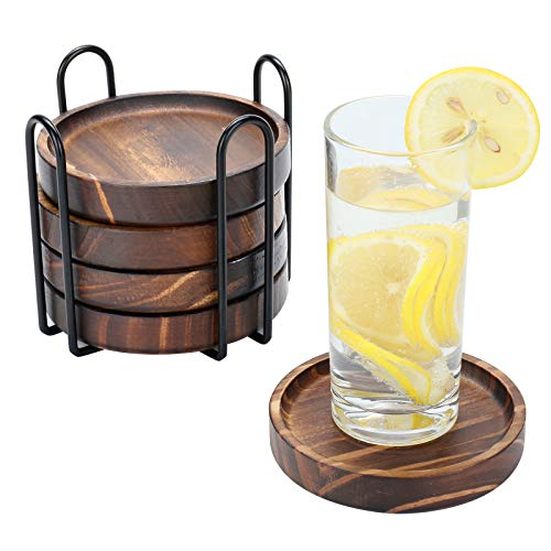 Wooden Coasters for Drinks - Natural Paulownia Wood Drink Coaster Set for Drinking Glasses, Tabletop Protection for Any Table Type, Set of 5 - Dia 4.3 x 4.3 x 0.8 Inches