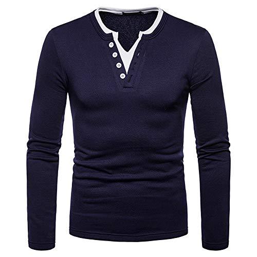 T-Shirt à Manches Longue Homme Longues Shirt Casual Sweatshirt Shirt Col Uni und Boutonné Chemise Homme Sport/Fitness/Casual Tee Shirt Col V Shirt de Slim Fit G-Navy M