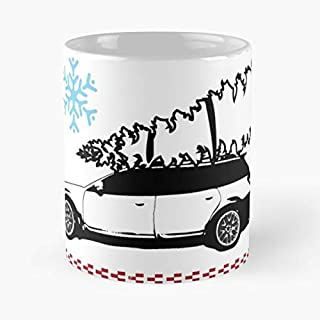 Subaru Christmas Sweater Ugly - Best Birthday And Holiday Gifts For Dad, Father Cup, White 11 Oz.