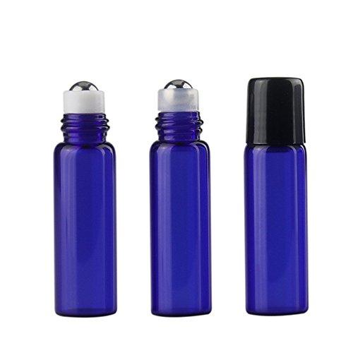 Hustar 15 Pièces 5ml Roll on Bouteille en Verre Rechargeable Bouteille Vide pour Huile Essentielle Parfum Bleu