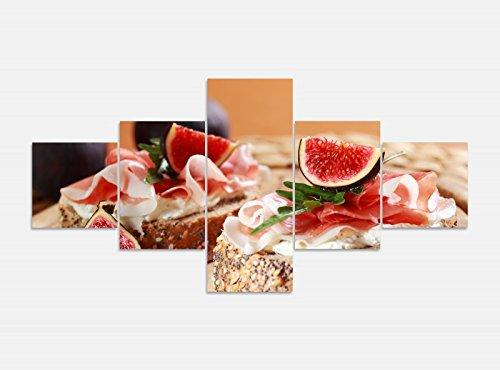 Leinwandbild 5 tlg. 200cmx100cm Frühstück Schinken Sandwich Feige Brot Küche Bilder Druck auf Leinwand Bild Kunstdruck mehrteilig Holz 9YA814, 5Tlg 200x100cm:5Tlg 200x100cm