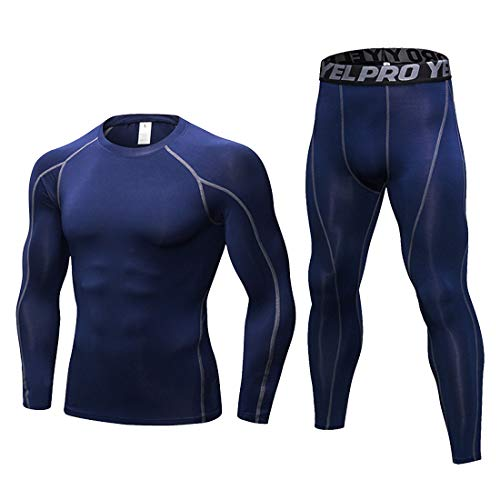 LANBAOSI Men's Gym Running Base Layer Top and Leggings Set Long Sleeve Compression Shirt Tights Thermal Underwear Suit, Navy Blue, XXL