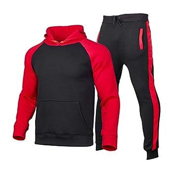 Men s Winter Sport Wear Tracksuit Clothes Outfits Set Long Sleeve Pullover Hoodies Sweatshirt+Long Sweatpants 2 Pcs  Red L