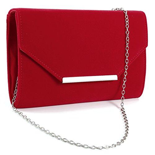 Surepromise Damentasche Kunstwildleder MädchenTasche Abendtasche Handtasche Kettentasche für Party Hochzeit Beige Rot Schwarz
