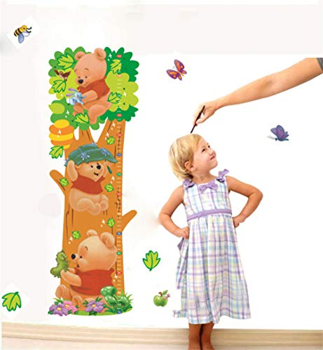 Winnie Pooh dibujos animados habitación para niños Árboles Oso animales Pegatinas de pared Medida de altura Tabla de crecimiento para habitación de niños Hogar Vivero Deca