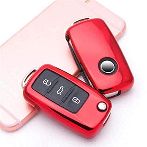 F-MINGNIAN-SPRING Funda para llave de coche, carcasa de TPU para llave de coche, para VW Golf Bora Jetta Polo Golf Passat Skoda Octavia A5 Fabia SEAT Ibiza Leon Rojo (color rojo)