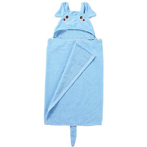 Maternal and child-G.TZ Serviette De Bain Absorbante Douce pour Enfants Kids Couverture Confortable en Coton De Style Peignoir Douillet Et Confortable (Fit 1-7 Ans), Bleue