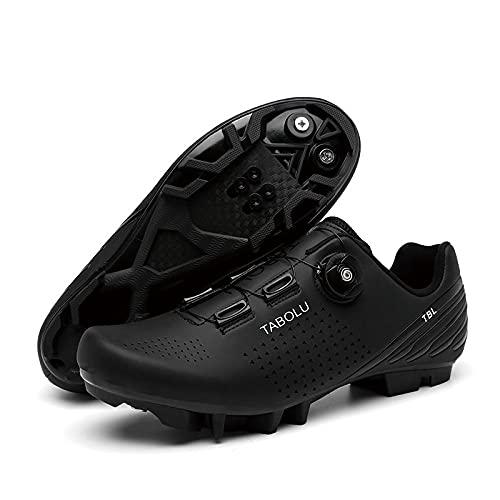 Kuxuan, scarpe da ciclismo da uomo, da donna, per primavera+estate, con chiusura a bottone in pizzo veloce, nero, 6 UK = (245 mm) = 39EU