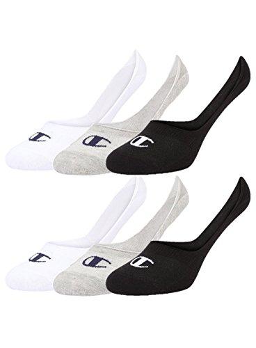 Champion 6pk Footie Socken Calcetines, gris claro, blanco y negro, 43-46 Unisex Adulto
