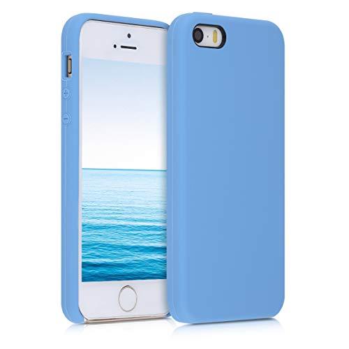 kwmobile Custodia Compatibile con Apple iPhone SE (1.Gen 2016) / 5 / 5S - Cover in Silicone TPU - Back Case per Smartphone - Protezione Gommata Blu Cadetto