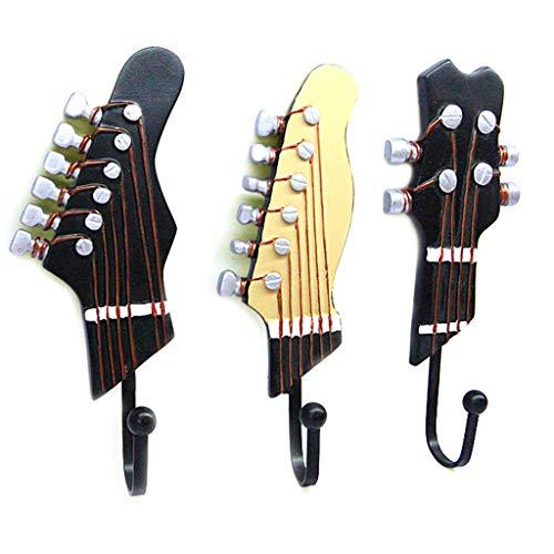 JOYKK set van 3 decoratieve wandhaken ijzeren haken shabby chic gitaarhaken