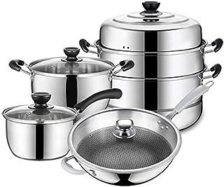 Baterías de cocina Juego de utensilios de cocina, herramientas 4 piezas de acero inoxidable utensilios de cocina de sopa de leche Olla Olla Sartén Inducción Combinación Conjunto Aplicar TONGSH