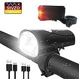 LIFEBEE LED Fahrradlicht, LED Fahrradbeleuchtung StVZO Zugelassen USB Wiederaufladbare Frontlicht und Rücklicht Set, Fahrradlampe, 2 Licht-Modi, Fahrradlichter mit USB-Kabel für Mountainbike