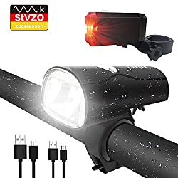 LIFEBEE LED bicycle light, LED bicycle light StVZO approved USB rechargeable front light and rear light set, bicycle lamp, 2 light modes, bicycle lights with USB cable for mountain bikes